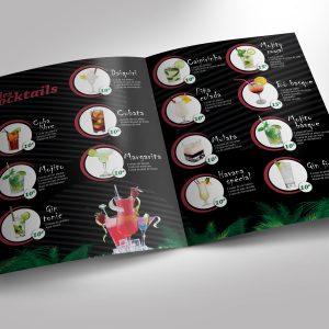 Carte cocktail Bar Dépliant infographiste Pau biarritz bayonne dax landes seignosse moliets